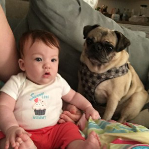 A girl and her pug
